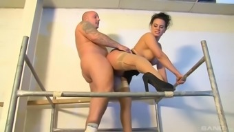 artist arrives in fuck the fashionable girl eva may in blue stockings
