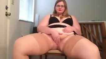 BBW Amateur Genital stimulation Stockings