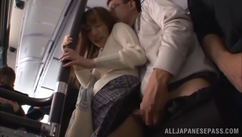 Naughty couple aren't going to return home for sexual intercourse, they actually it right their own inside a community public bus