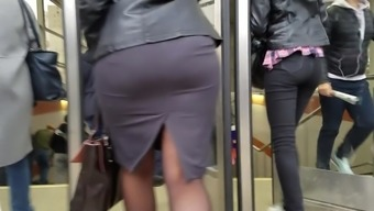 Major wide ass in utmost mini skirts