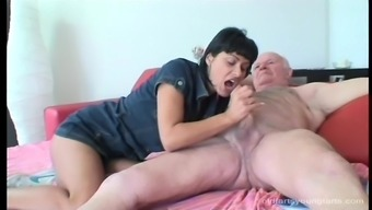 Frank grand father gets his angle ridden by an bold young adult