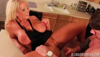 Appealing Alura Jenson and her adult man having erotic moments within a the kitchen