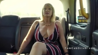 huge titties senior lesbian licking in cab