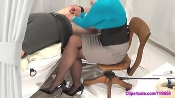 Lady friend Handjob Mock In Pantyhose