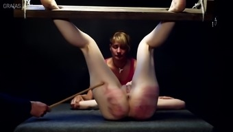 Merciless beating for blond and her lover