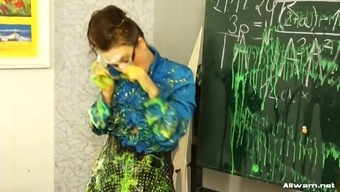 Wayward instructor gets untidy with her students direct colorings throughout themselves