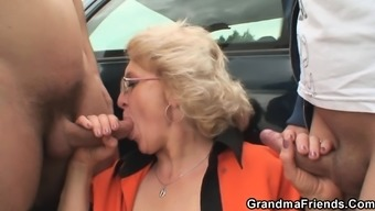 Old granny is twofold burst in the sections