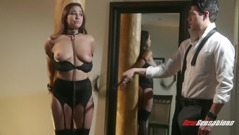 Karlee Gray bound by the man and get a kinky intercourse animals