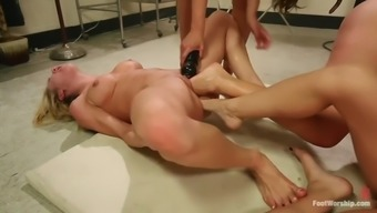 intense foot fisting lesbian orgy by using four evil whores
