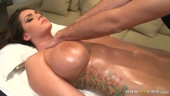 a nice shiny rubdown of alison tyler's big tits and pussy