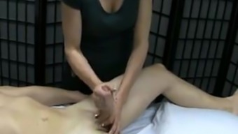 Massage session by using pleased ending...
