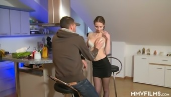 Pretty krown along with great titties Jenny Simons loves the way hunk licks her twat