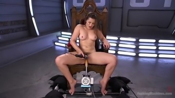 dani daniels stripteases and employs her fucking machinery