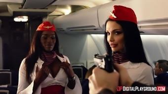 Aletta Sea and Nicolette Shea take pleasure in major cocks on airliner