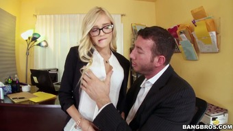 Four eyed body needs to keep this job he will provide her boss a intercourse