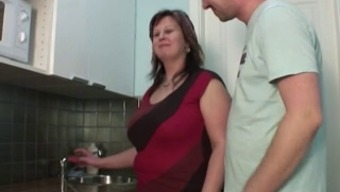 Man fuck mother in the cooking area
