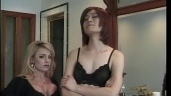 Wild bitches fuck males slave with great dildo