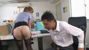 Pulling up her greater pantyhose while you are fucking the desk