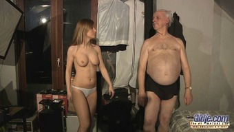 Blessed grand father spent night time with heated Russian babe