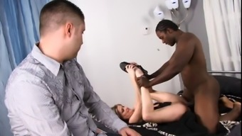 Light colored man wrist watches as his significant other gets her pussy fucked & face creamed by optimal bloke