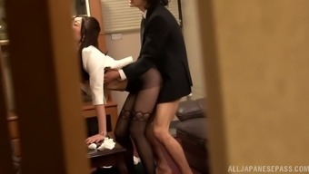 Horny homework moves on her hiring managers cock in the office