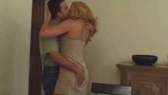 Attractive blonde age in pantyhose likes man's milks