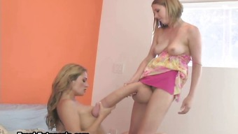 Blond damsel making out on top of her girl friend part1