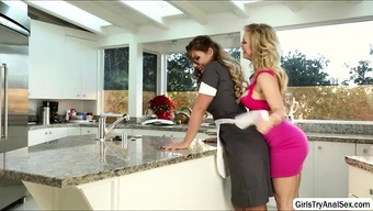 Lesbians thrashing pussy with the cooking