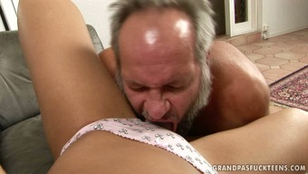 Adorable dark babe gets her pussy licked by panty man