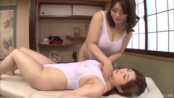 Vast titty Japanese people masseuse seduces a girl and nuts and bolts her
