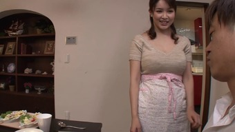 Busty Japanese people housewife gives an erotic titjob and blowjob