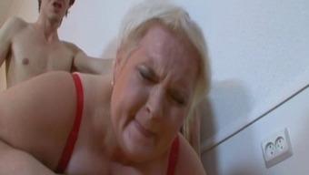 Blonde Russian 40 Plus-size woman Belykova sc2-red bra