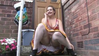 Voyeur 1 800 - Chunky damsel sitting down outdoor (MrNo)