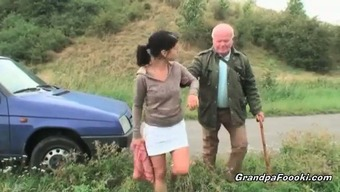 Lovely toddler seduces grandpa on the highway