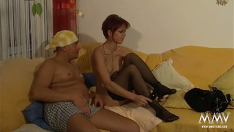 Sweet scarlet haired mom in beautiful stockings let her perverted friend thrash her moist muff for an extended period of time