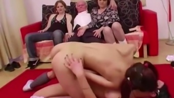 Youthful girls dance for grandpa before suck his prick