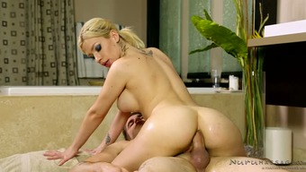 Luscious blonde Bibi Noel gets buttocks fucked in cowgirl and area styles tough