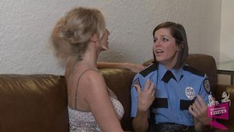 Horny girl law enforcers seduced through a lesbian housewife