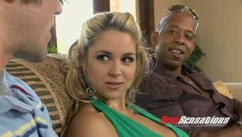 Big tittied blond splendor Sarah Vandella let her Man watch how this lady blows BBC