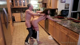 Shameless mommy with the use of organic tits gets shagged by neighboring town in kitchenette