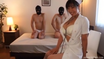 Japanese look after and her unique sufferers having threesome intercourse