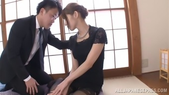 Japanese people mum dressing stockings loves several lively hitting