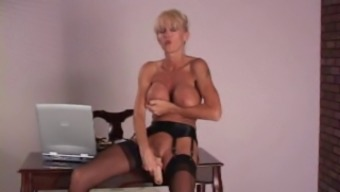 Mature attractive human body desk Stockings high heels and dildo