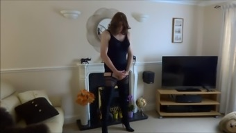 Tranny in sexy stockings enhance his cock