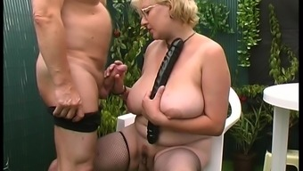 Dutch granny visits the yard so that you can get 100 % lively generally there