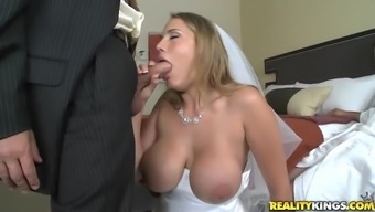 tramp with the use of great titties gets fucked in bridal gown