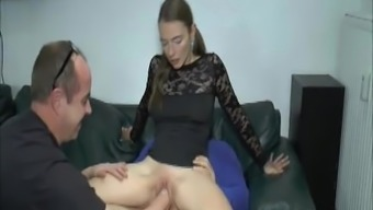 Serious young adult twofold fisted and fucked