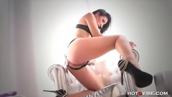 Beautiful extremely high heeled hen plays with her pussy until he squirts