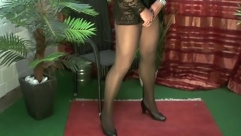 Crossdresser viewing his cock in hot pantyhose and intimate apparel