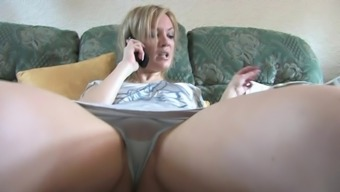 Sexy Blond Date on Sleep With the use of Light Panties